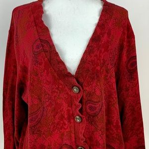 J. Jill Sweater Red Paisley V-Neck Button Front XL